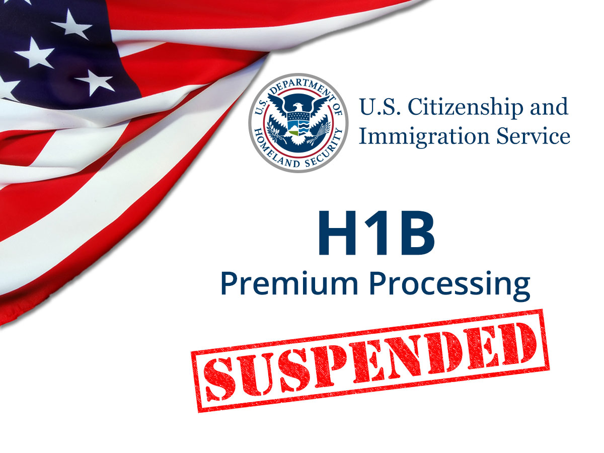 USCIS logo and text - H1B Premium Processing Suspended