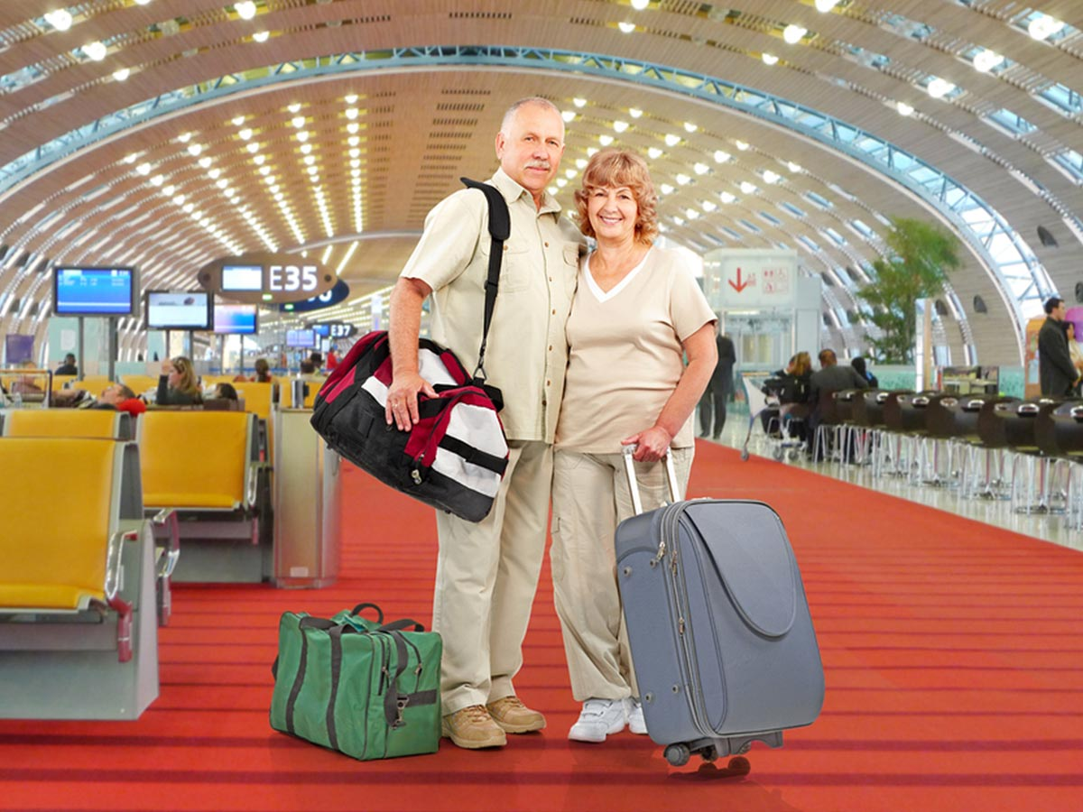 Couple traveling abroad