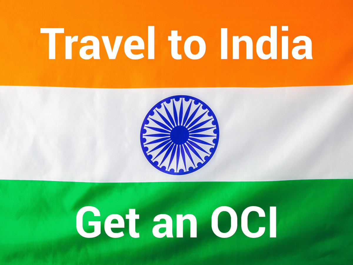 Indian Flag with a message travel to India on an OCI card