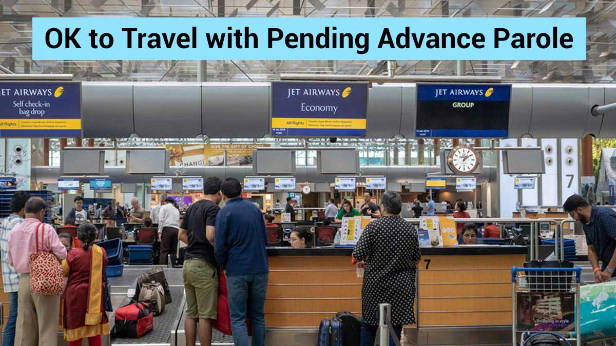 Travelers queuing up at an airport