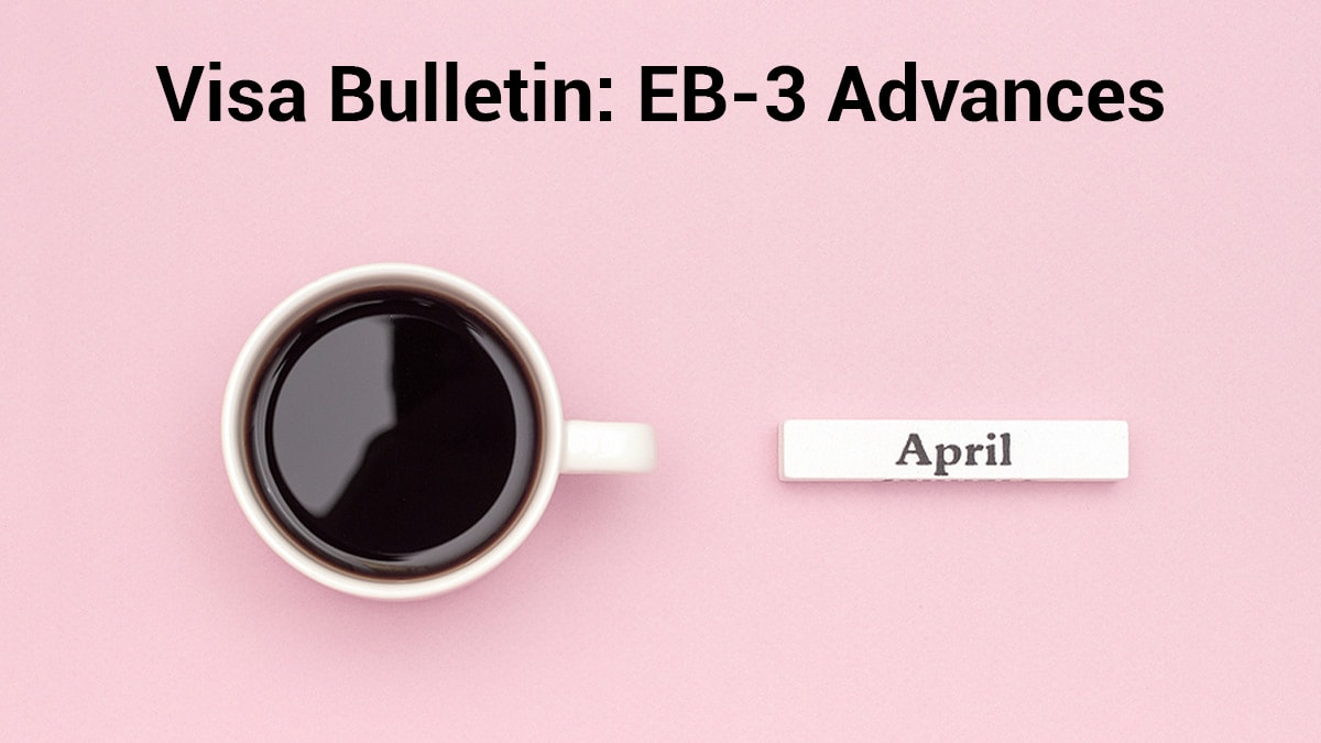 Coffee cup along with caption about EB3 visa bulletin