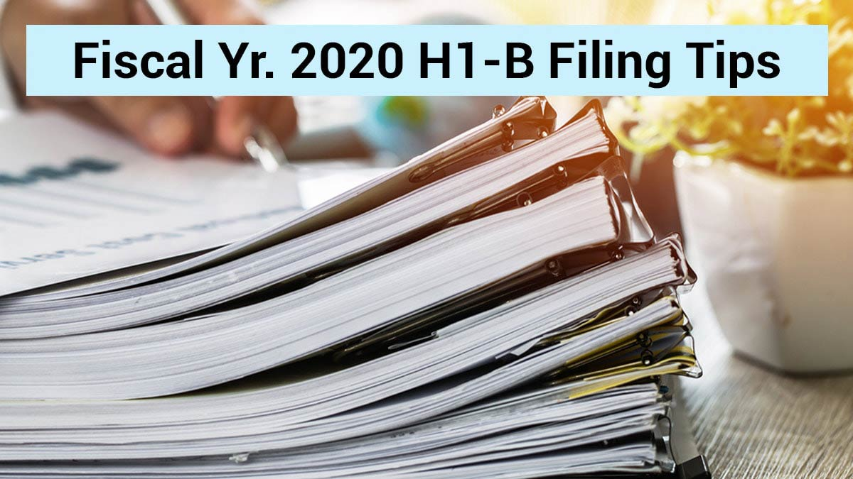 Files showing all requirements for h1b filing for yr 2020