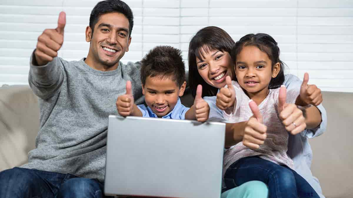 Family celebrating being able to file for green card