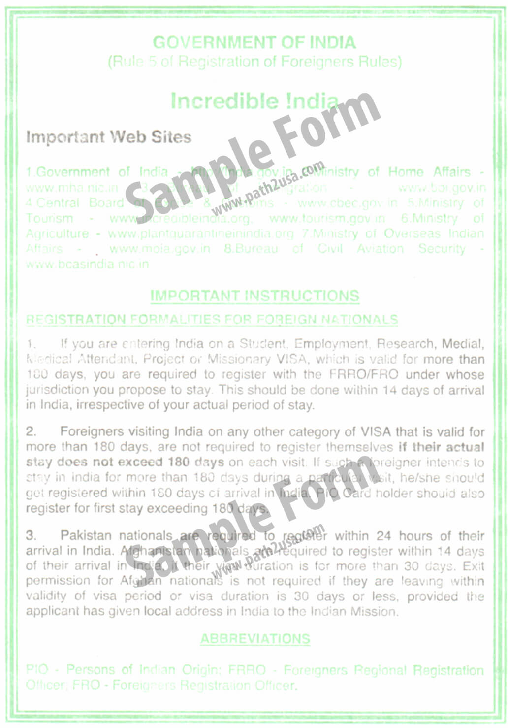 Indian Immigration Arrival Form