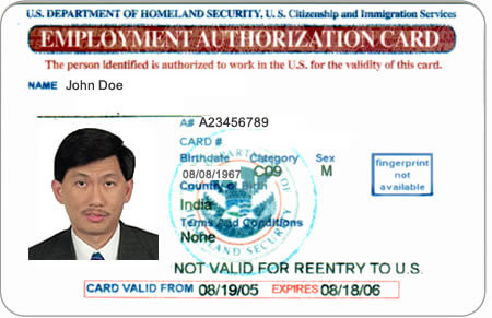 Sample Employment Authorization Document Ead