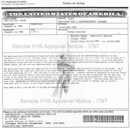 Sample Form I-797 H1B Approval Notice